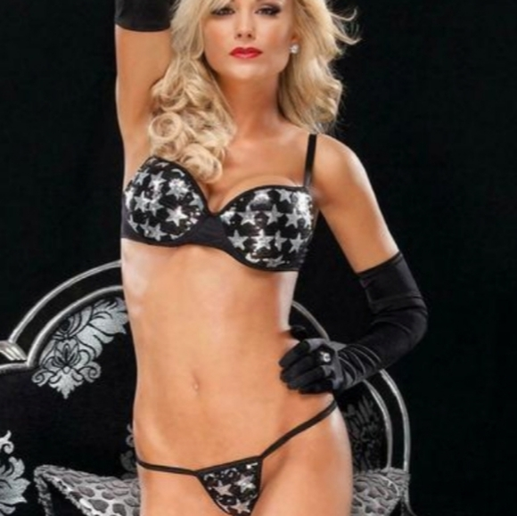 Coquette Silver Star Bra and G-String Set
